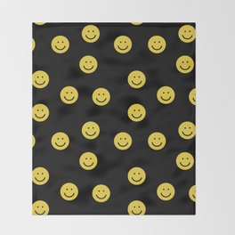 Happy Face - smiley, smiles, happy, emoji, cute, 90s, happy face Throw Blanket