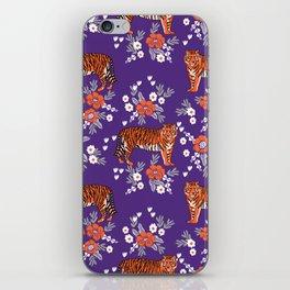 Tiger Clemson purple and orange florals university fan variety college football iPhone Skin