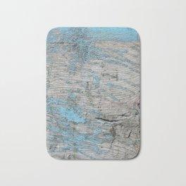 Peeled Blue Paint on Wood rustic decor Bath Mat