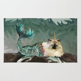 Behold the Mythical Merkitticorn - Mermaid Kitty Cat Unicorn Rug