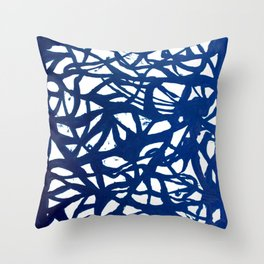 Blue Squiggles Throw Pillow