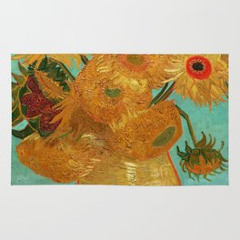 Vincent Van Gogh Twelve Sunflowers In A Vase Rug