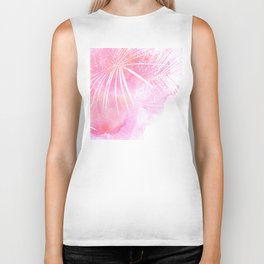 Abstract Pink Palm Tree Leaves Design Biker Tank