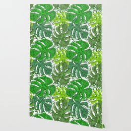 PALM LEAF B0UNTY GREEN AND WHITE Wallpaper
