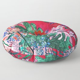 Ruby Red Floral Jungle Floor Pillow
