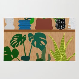 Plants on the Shelf in Warm Wood Rug