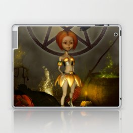 Halloween design with pumpkin,crow and little girl Laptop & iPad Skin