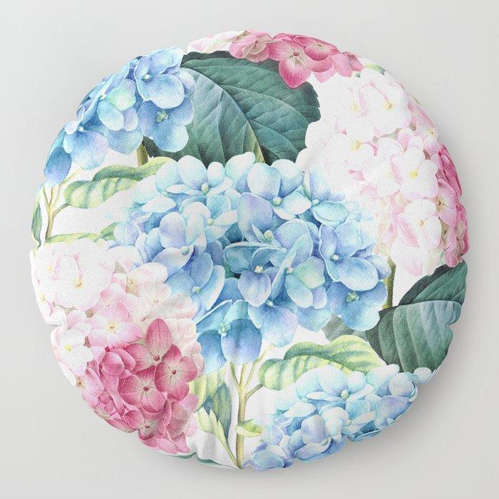Pink Blue Hydrangea Floor Pillow