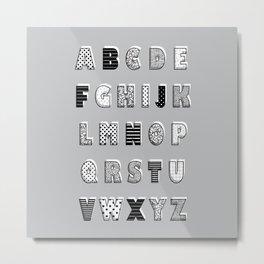 ABC Gray Metal Print
