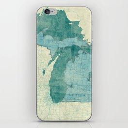 Michigan State Map Blue Vintage iPhone Skin