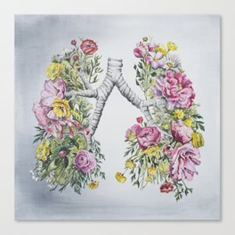 Floral Anatomy Lungs Canvas Print