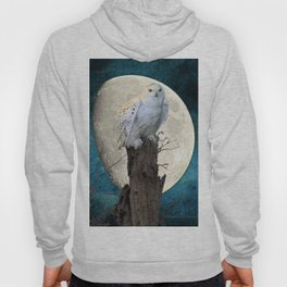 White Snowy Owl Bird Moon Blue A141 Hoody