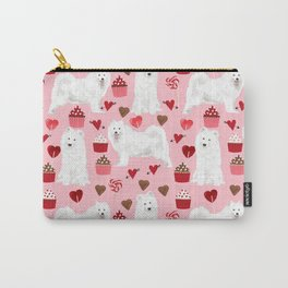 Samoyed valentines day dog portrait cute puppy dogs hearts love valentine for dog person Carry-All Pouch