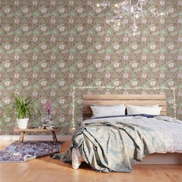 Flowers and butterflies In Brown Pattern Wallpaper