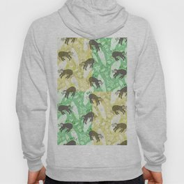 Mozaic Lazy Boho Sloth On Yellow and Green Background Hoody