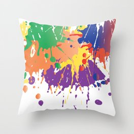 Colourful Paint splash Throw Pillow