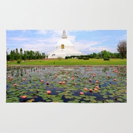 World Peace Pagoda with Lotus Flowers Rug
