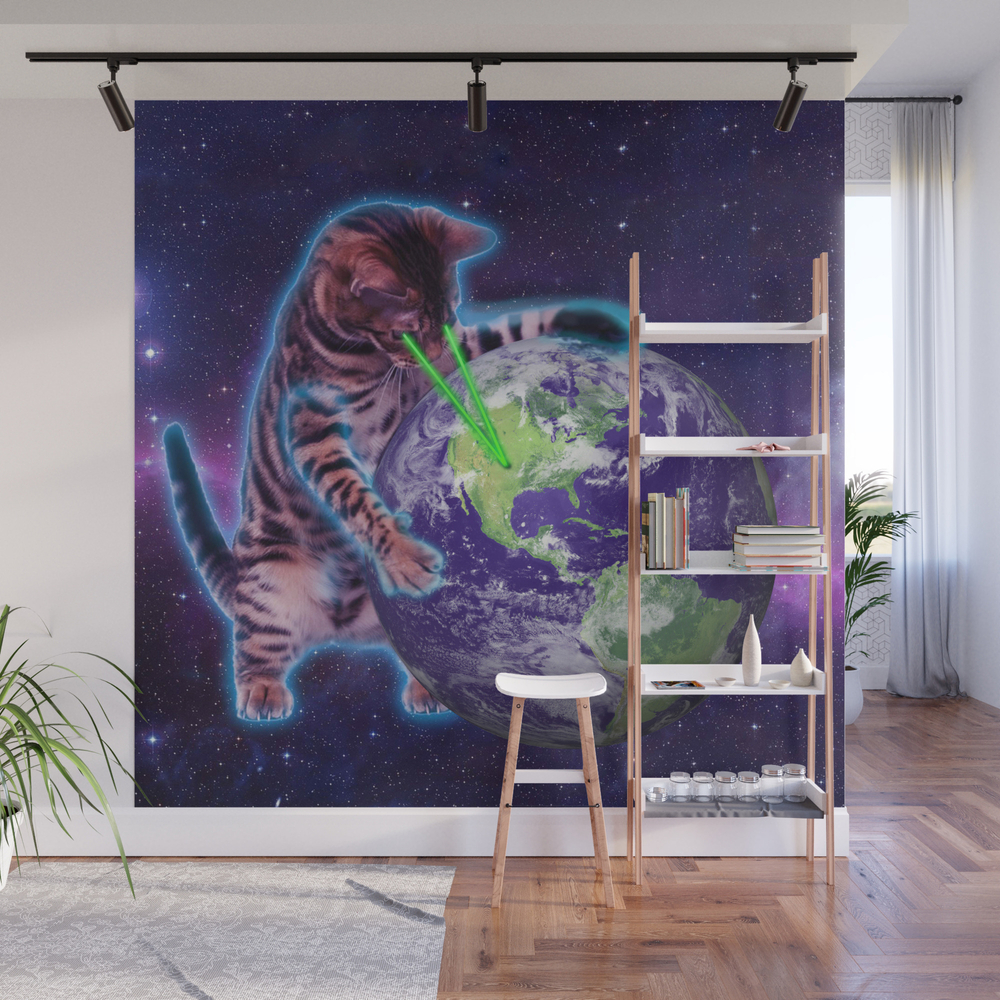 Cat Destroying The World With Eye Laser Wall Mural by Marios WMP8066184