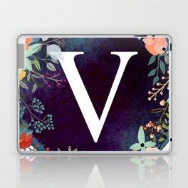 Personalized Monogram Initial Letter V Floral Wreath Artwork Laptop & iPad Skin