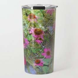 Serenity Prayer Pink Flowers on Yellow Travel Mug