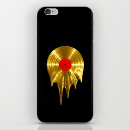 Melting vinyl GOLD / 3D render of gold vinyl record melting iPhone Skin