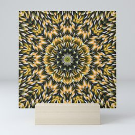 Yellow knit pattern kaleidoscope 3D Mini Art Print