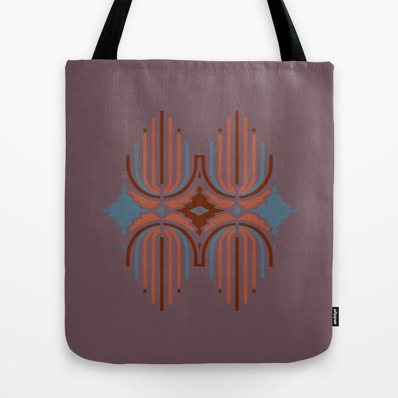 Tribal Print Native American Indian Motif Tote Bag by Rebeccajdesigns TBG8743816