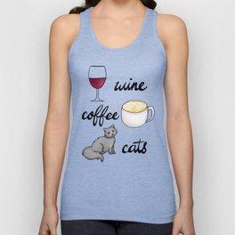 Wine Coffee Cats Unisex Tank Top