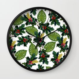 Christmas faux gold red green holly leaves floral Wall Clock