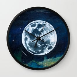 Full Moon Mixed Media Painting Wall Clock