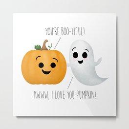 Boo-tiful Couple | Pumpkin & Ghost Metal Print