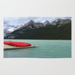 Lake Louise Red Canoes Rug