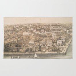Vintage Pictorial Map of Charleston SC (1851) Rug