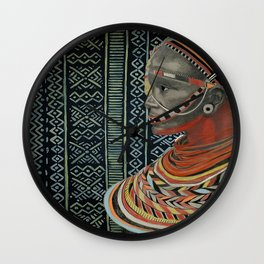 The Red Beads/mud cloth background Wall Clock