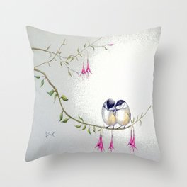 Two Chickadees Throw Pillow