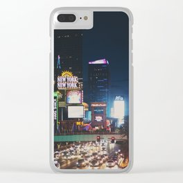 night time on the strip ... Clear iPhone Case