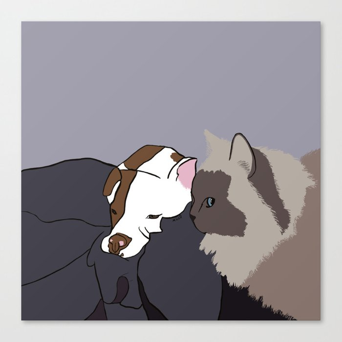 A Pit Bull and Her Kitty Canvas Print