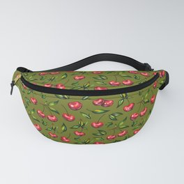 Watercolor cherry pattern on light green background Fanny Pack