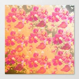 flowers, flowers, rose, silver, orange, gold, colored, vintage, elegant, textile, Canvas Print