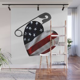 American Flag Heart Safety Pin Wall Mural