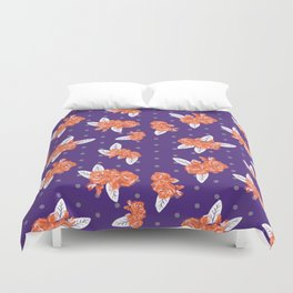 Floral clemson sports college football university varsity team alumni fan gifts purple and orange Duvet Cover