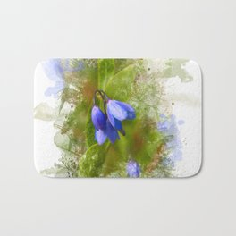 Pretty bluebells on white Bath Mat