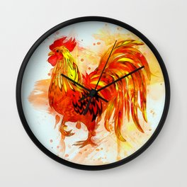 Rooster Painting Wall Clock