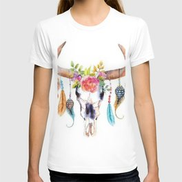 Floral and Feathers Adorned Bull Skull T-shirt