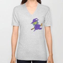 Little Witch on broom Unisex V-Neck