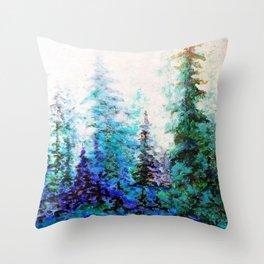 BLUE MOUNTAIN PINES LANDSCAPE Throw Pillow