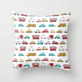 Cars trucks buses city highway transportation illustration cute kids room gifts Throw Pillow