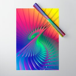 Outburst Spiral Fractal neon colored Wrapping Paper