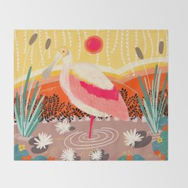 Roseate Spoonbill in the Sunset Throw Blanket
