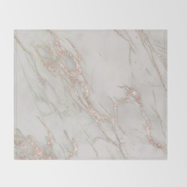Marble Rose Gold Blush Pink Metallic by Nature Magick Throw Blanket